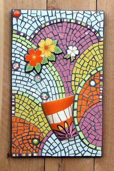 Mosaic Art Retro Mosaic Flower Power by CalicoSkiesMosaics on Etsy