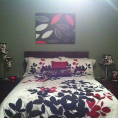 Red Gray Black bedroom