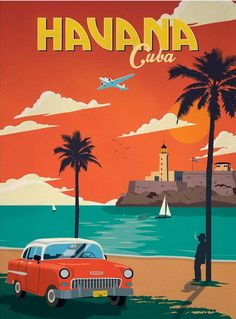 Volkswagen Bus Discover Havana Cuba Retro Poster Poster by DigiArtyst Venice Travel, Cuba Travel, Florida Travel, Beach Travel, Spain Travel, Hawaii Travel, Vintage Advertisements, Vintage Ads, Vintage Cuba
