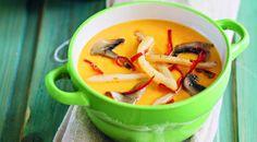 Суп из тыквы с грибами и кальмарами