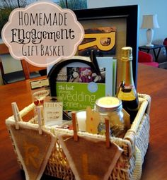 Gift Baskets on Pinterest Engagement Basket, Engagement Gifts ...