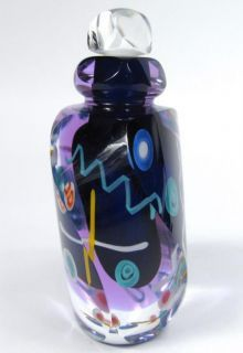 James Clarke 1992 Signed Art Glass Perfume Bottle Stopper Vanity Cobalt Confetti in Collectibles, Vanity, Perfume & Shaving, Perfumes Mosaic Glass, Glass Art, Old Perfume Bottles, Lovely Perfume, All Things Purple, Bottle Stoppers, Favorite Things, Water Bottle, Fragrance