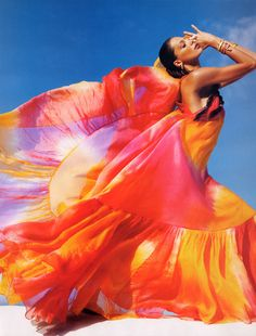 Fatima Siad flowy dress. Amazing colors!