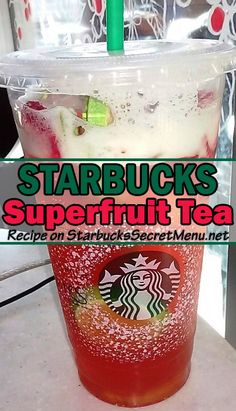 Superfruit Iced Tea On that New Year health kick? Starbucks Superfruit Tea is a great low calorie option!On that New Year health kick? Starbucks Superfruit Tea is a great low calorie option! Starbucks Tea, Starbucks Hacks, Healthy Starbucks Drinks, Starbucks Secret Menu Drinks, Starbucks Recipes, Yummy Drinks, Healthy Drinks, Starbucks Smoothie, Refreshing Drinks