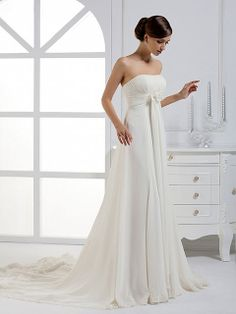 A-line Strapless Chiffon Court Train White Lace Wedding Dresses at Msdressy
