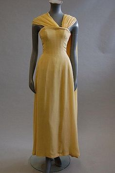 primrose yellow chiffon evening gown with black Dior label, circa 1959