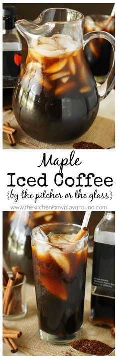 Maple Iced Coffee {by the Pitcher or the Glass} ~ Rather than making plain iced coffee, how about some totally maple-icious Maple Iced Coffee instead?  It's the perfect extra-special sipper, easy to whip up by the glass for yourself or by the pitcher for sharing!  #recipe #Folgers #sponsored www.thekitchenism...