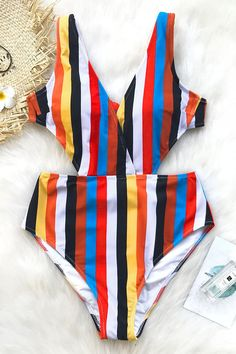 3cb0927e91 Cupshe Passing Fancy Stripe One-piece Swimsuit. Bold colors in stripes in  bold colors and a high waist to give you legs for days!