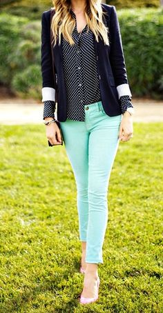 Polka dotted blouse, navy blazer and mint pants
