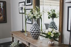 Silver and white floral arrangement for a private party. Home party florals, silver vase, green and white. White Floral Arrangements, House Party, Florals, Floral Design, Vase, Elegant, Green, Silver, Home Decor
