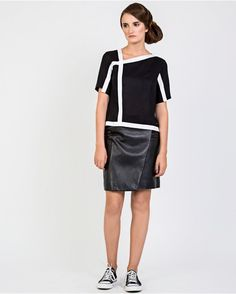 Rhizic Black Leather Wrap Skirt - Luxury British Womenswear Designer - Leather Skirts