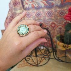 Turquoise ring, Statement Ring, Boho Chic, Vintage Ring, Oriental Ring, Polymer Clay Ring, Round Ring, Adjustable Ring, Gift Under 20usd