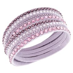 Swarovski Slake Pink Deluxe Bracelet ($69) ❤ liked on Polyvore featuring jewelry, bracelets, accessories, purple, pink crystal bracelet, pink crystal jewelry, crystal bracelet, adjustable bangle and wrap bracelet