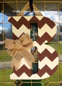 Chevron Monogram Door Hanger with Burlap by CraftyCoutureCandace