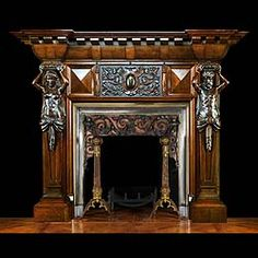 A LARGE LATE 19th CENTURY CARVED OAK FIREPLACE IN THE ITALIAN RENAISSANCE manner, with well carved male and female Atlantean caryatids supporting the coffered integral breakfronted shelf and strapwork frieze. The frieze is centred by a large Jacobean-style centre tablet carved with an oval 'stemma nobilare' tablet with strapwork and floral decoration. Shown with decorative insert 11135, and andirons 12467.  English circa 1890.