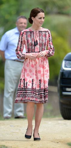 Looking back to the Duchess' recent trip to India, Lorraine said: 'Kate often tours wearing all this thousand-pound this, thousand-pound that stuff - and then she wore a wee dress from Topshop for £75' (pictured)