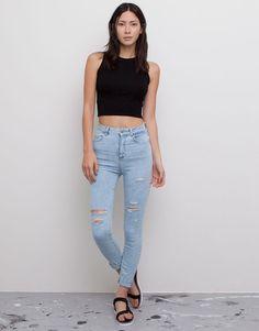 Pull&Bear - dames - bohemian hindu - superskinny jeans met hoge taille - lichtblauw - 05682333-V2015