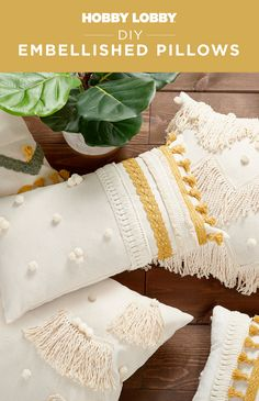 Refresh your decor when you embellish pillows with new trim and tassels! Sewing Projects, Diy Projects, Boho Living Room, Hair Raising, Diy Pillows, Hobby Lobby, Diy Home Decor, Embellishments, Tassels