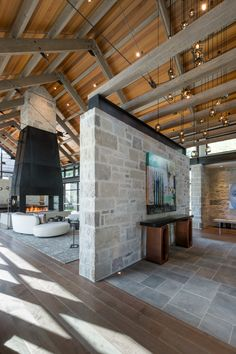 Interior of the Calcaire by Surround Architecture. You have to open the link and look at all the amazing exterior and all of the incredible details, outside and inside. Modern Barn House, Barn House Plans, Modern House Design, Casas Containers, Modern Farmhouse Exterior, Shed Homes, Future House, Interior Architecture, Building A House