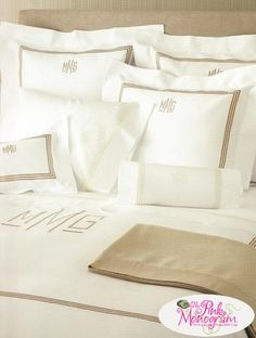 3 Line Embroidered and Monogram Pique Bed Linens with Coordinating Luxury Sheeting Modern Bed Sheets, Modern Bed Linen, Luxury Bed Sheets, Luxury Bedding, Luxury Bed Linens, Modern Bedding, Rustic Bedding, Linen Bedding, Sheets Bedding