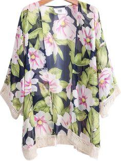 Navy Long Sleeve Floral Tassel Loose Top 14.33