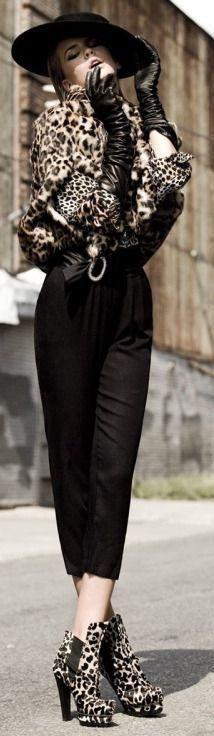 Black Leather Long Line Gloves
