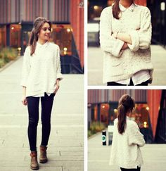 Sweet Over Sized White Sweater