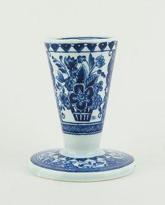 Vintage  Ceramic delft blue candle holder  by CrystalBlueVintage on Etsy