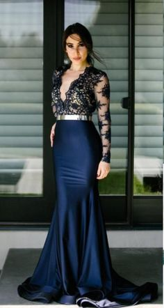 cb400666e20f Sexy Sheer Deep V Neck Mermaid Prom Dresses Lace Applique Royal Evening  Dress Sweep Train Party Gowns Prom Dresses. Abiti Gala