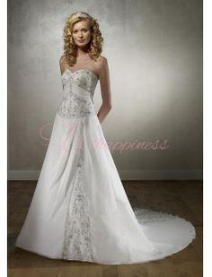 Strapless Satin A Line Princess Chapel Train Satin Wedding Dress