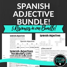 """Students will LOVE this bundle of 5 Spanish adjective activities! Includes a Spanish Adjective word search, crossword puzzle, vocabulary lists, bingo and a speaking activity. Great for reinforcing vocabulary throughout the lesson, test review or substitute plans. Aligns with Buen Viaje 1 Chapter 1 and uses descriptive adjectives and the verb """"ser."""" Can be used with any curriculum."""