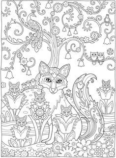 Creative Haven Fanciful Foxes Coloring Book More