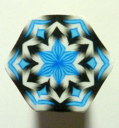 Black White and Blue Hexagon Polymer Clay Cane by ClaybyKerm, $8.00