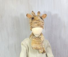 Child Hat Beanie Hat Giraffe Hat Autumn Winter Hat Kid Toddler Hat Crochet Hat Animal Hat with Scarf Brown Beige Funny  Soft Nice - pinned by pin4etsy.com