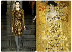 """Nicole FarhiThe rich gold shades in Gustav Klimt's paintings aided Nicole Farhi in conceptualizing her designs this season. The texture of the dresses on Farhi's runway and in the painter's 1907 piece """"Adele Bloch-Bauer"""" bring the metallic tones to another level.[content:shareblock]Left: Courtesy Getty Images[content:advertisement-center]Right: Courtesy Wikipedia"""