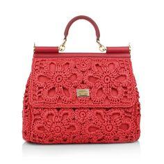 1b3a499c0a Dolce Gabbana Borsa A Mano Rafia Fiore Rosso in rot