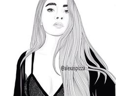 draw alexaspizza long hair perfect triangl sweater big eyebrows outlines