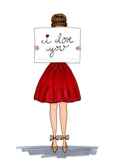 I love you fashion print, Little red dress fashion illustration, Valentines Day art print, Wall art for girls room, Girl art,Vanity wall art