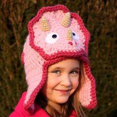 No Pattern. Crocheted Dinosaur Hat.