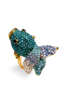 Cara Accessories 'Critters' Blowfish Crystal Stretch Ring | Nordstrom