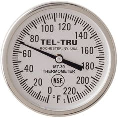 Tel-Tru MT39 Meat Cooking Thermometer, 1-3/4 inch dial, 5 inch stem, 0/220 degrees F by Tel-Tru Manufacturing Co.. $30.60. NSF certified. Made in USA. Stainless steel heavy duty construction. Meat Cooking Thermometer - back connected, 304SS external parts, NSF certified, oven safe, glass lens