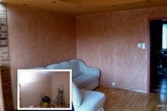 """Look at """"Before & After"""" change this living room!  Creative walls"""