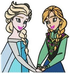 Anna and Elsa machine embroidery design. Machine embroidery design. www.embroideres.com