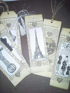 Scrap / Marque-pages encore - Le coeur de Margot Old Book Crafts, Book Page Crafts, Homemade Bookmarks, Paper Art, Paper Crafts, Folded Book Art, Book Markers, Old Book Pages, Altered Books
