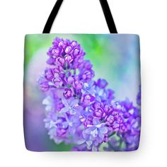 Oksana Ariskina Tote Bag featuring the photograph Lilac Flowers by Oksana Ariskina  #OksanaAriskina #OksanaAriskinaFineArtPhotography  #Flower #ArtForHome #Green #Violet #FineArtPrints #InteriorDesign #PrintsForSale #Liliac #Bokeh #Spring #Bag #ToteBag