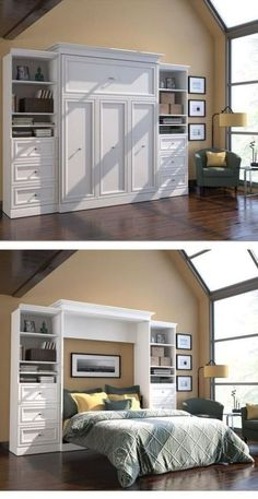 Turn your home office into a guest room with a hide-away Murphy bed. The bed stows against the wall in its custom frame when not in use, and when company comes you simply pop it open and it's ready for guests! The side storage is perfect for bedside reading and the clean décor will fit with your home office, without sacrificing any precious space.