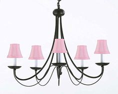 """Wrought Iron Chandelier Lighting With Pink Shades! H22"""" X W26"""" - A7-Pinkshades/403/5"""