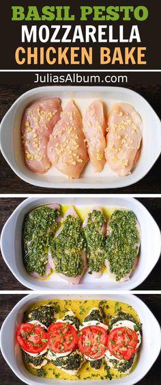 Basil Pesto Recipes, Chicken Pesto Recipes, Recipes With Pesto, Recipes With Mozzarella, Baked Chicken Meals, Fried Chicken, Pesto Mozzarella Chicken, Pesto Chicken Bake, Chicken With Pesto