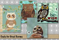 Cool choices for Owl Themed Artwork for Boys' Bedrooms by Oopsy Daisy, Fine Art for Kids
