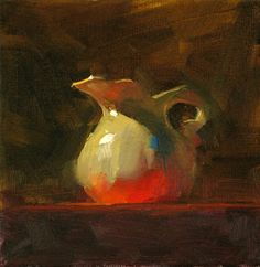 """""""Red Table Cloth"""" by Qiang-Huang. 6"""" x 6"""" oil on canvas."""